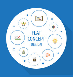 Flat icons design mind help and other vector