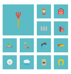 flat icons lamb bulldozer cultivator and other vector image