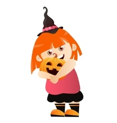 Girl with pumpkin vector image
