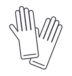 gloves line icon sign on vector image