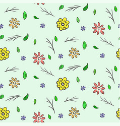 Hand drawn colorful floral seamless pattern vector