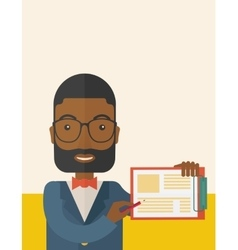 Handsome black guy holding clipboard vector image