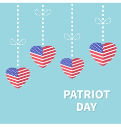 Hanging heart flags Star and strip Patriot day vector