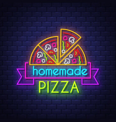 homemade pizza - neon sign on brick wall vector image