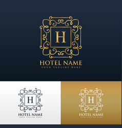 Hotel brand logo design with letter h vector