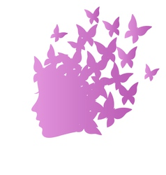 Icon with beauty woman profile with butterflies on vector image