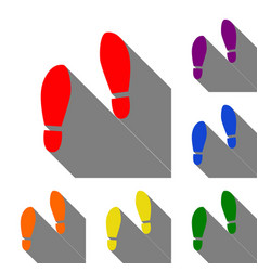 Imprint soles shoes sign set of red orange vector
