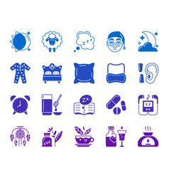 Insomnia color silhouette icons set vector