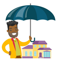 Insurance agent protecting model of the house vector