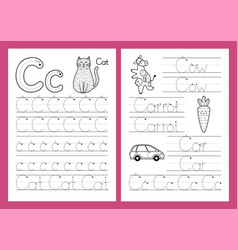 letter c tracing practice worksheet set learning vector image