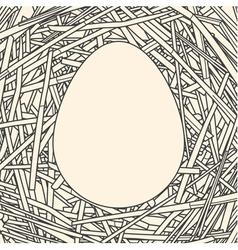 Line art of egg on straw background vector