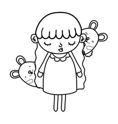 Line beauty girl child with mice animals vector