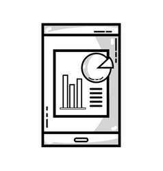 Line smartphone with company document and vector