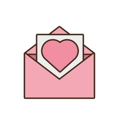 mail paper heart envelope pink icon vector image