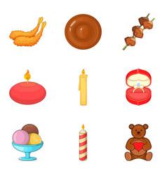 make a wish icons set cartoon style vector image