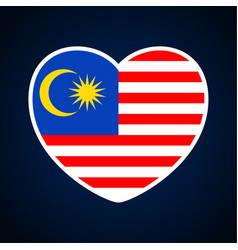 Malaysia flag in a shape of heart icon flat heart vector