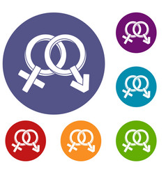 male and female signs icons set vector image