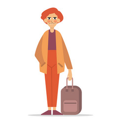 man with a suitcase vector image