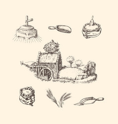 mill stuffsketches rural life vector image