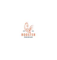 Minimalist rooster line cartoon icon logo design vector