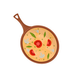 omelette with tomatoes and mushrooms in frying pan vector image