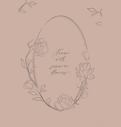 Oval floral frame with jasmine flowers vector