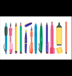 pens and pencils set vector image