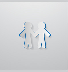 People Holding Hands Cut From Paper vector image