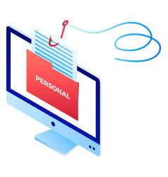 phishing personal info icon isometric style vector image