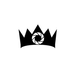 photography logo with a crown vector image vector image