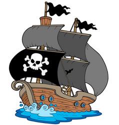pirate sailboat vector image