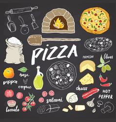 pizza menu hand drawn sketch set vector image