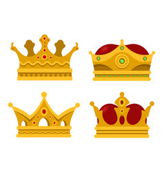 pope tiara and king crown set of icons vector image