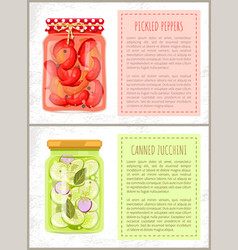 Preserved food poster pickled pepper and zucchini vector