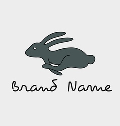 Rabbit running logo vector image