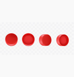 Realistic red plastic bottle caps vector
