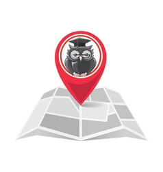 Red location marker with owl on city map vector