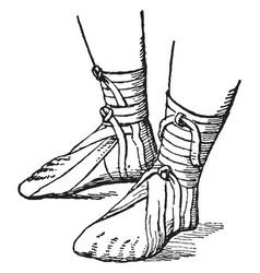 Roman sandals vintage engraving vector