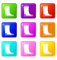 Rubber boots icons 9 set vector
