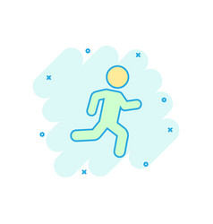 running people sign icon in comic style run vector image