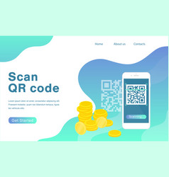 scan qr code flat landing page template vector image