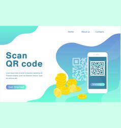 Scan qr code flat landing page template vector