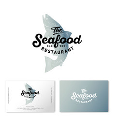 seafood restaurant logo salmon business card vector image