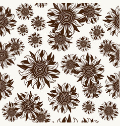 seamless pattern with sunflower image vector image