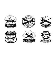 service repair set of logos or labels vector image