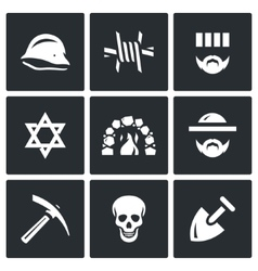 set concentration camp icons german vector image
