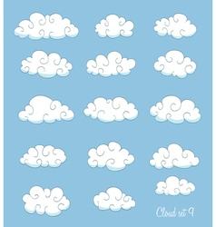 set of cute cartoon clouds vector image