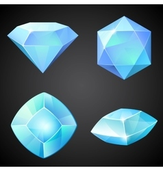 Set of lightblue gemstones vector image