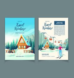 ski resort in mountains cartoon brochure vector image