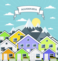 small village in norway scandinavia - variegated vector image